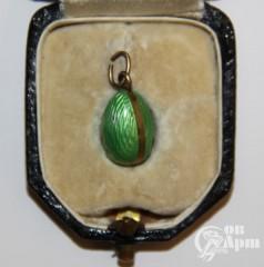 Подвеска яйцо пасхальное с зеленой эмалью
